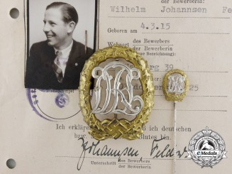 An NSRL Award Document & Badge to Wilhelm Johannsen; With Badge and Matching Miniature