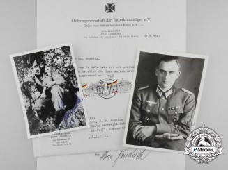 Two Signed Letters & Envelope from Panzer Commander Major Sandrock to Author John R. Angolia