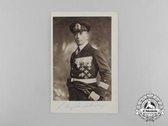 """A Signed Picture Postcard of  the """"Sea-Devil""""; Corvette Captain Felix Graf von Luckner"""