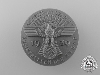 Germany, NSDAP. A 1939 Münster-Warendorf District Meeting Day Badge