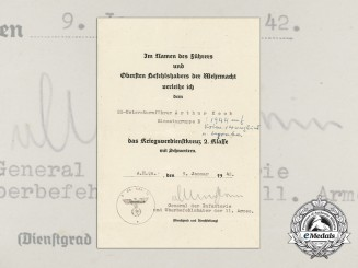 A 1942 War Merit Cross Award Document to SS-Untersturmführer Keck KIA