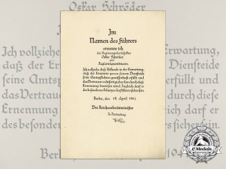 A Large Government Official Promotion Document to Oskar Schröder