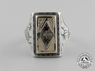 A Fine Quality Manufacture Deutsches Afrikakorps Silver & Gold Ring