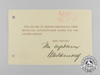 Germany, NSDAP. A Thank You Card Signed the Head the Reich Propaganda Ministry Radio Department