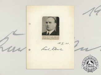 A Wartime Daybook Page Signed by Reichsführer-SS Karl Hanke