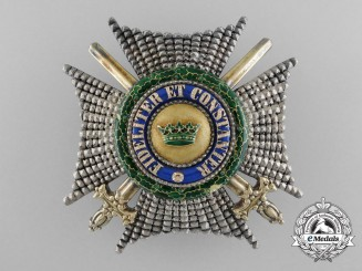 "A Saxe-Ernestine House Order –  Commander's Star with Swords, ""Für Inländer"""