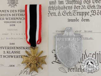 The Lappland Shield and KWK 2nd. Class, with Award Documents