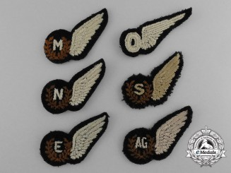 Six Second War Royal Air Force (RAF) Miniature Wings