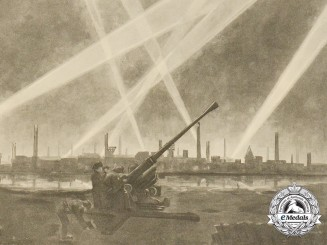 A Large Period Print Depicting an Anti-Aircraft Flak in the Wake of an Air Raid