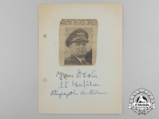 "A Wartime Daybook Page Signed by ""Pilot of the Führer"" SS-Oberführer Hans Baur"