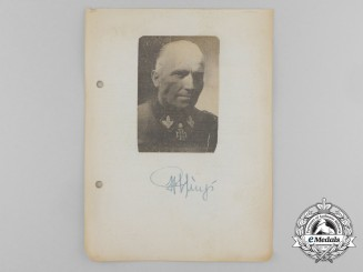 A Wartime Daybook Page Signed by Waffen-SS Lieutenant General Hermann Prieß