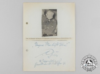 A Wartime Signed Newpaper Clipping of Waffen-SS  Lieutenant General Herbert Gille