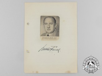 A Wartime Daybook Page Signed by Reich Minister for Economic Affairs Walther Funk