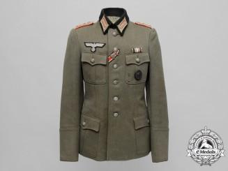 A Field Grey Wehrmacht Artillery Officer's Tricot Gabardine Tunic