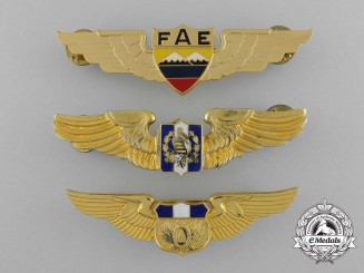 A Group of Three South American Air Force Pilot Badges