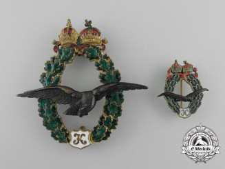 An Austrian Field Pilot Badge; Type II, Karl I (1917), Fullsize and Miniature