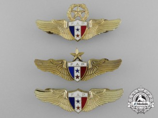Three Panamanian Air Force (Fuerza Aérea Panameña) Pilot Badges