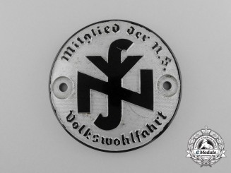 A National Socialist People's Welfare Membership Car Plaque