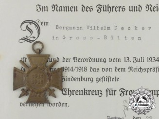 An Award of Honour Cross & Document to Wilhelm Decker