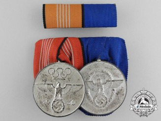 A German Police Long Service & Olympic Commemorative Medal Bar