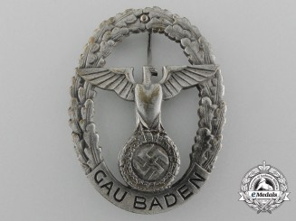 Germany, NSDAP. A Large GAU Honor Badge Baden, by Fr. Klett Karlsruhe