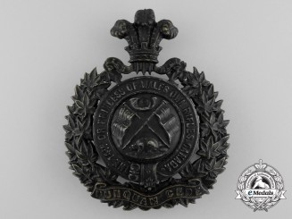 United Kingdom. A 14th Regiment The Princess of Wales' Own Rifles Helmet Plate, c.1907