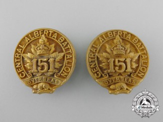 A First War 151st Infantry Battalion Officer's Collar Badge Pair