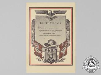 An Uncommon Mint German Machine-Gun Lanyard Marksmanship Award Document
