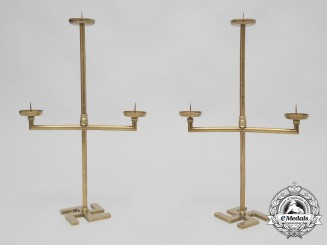 A Rare Set of Two Large Brass Candelabra