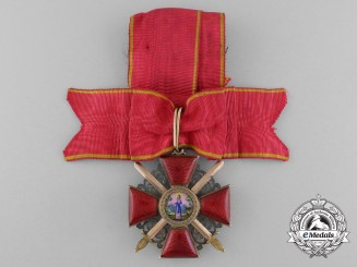 An Early & Fine Russian Imperial Order of St. Anne with Swords; 3rd Class in Gold