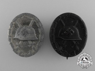 A Lot of Two Second War German Wound Badges; Silver and Black Grade; Both Marked
