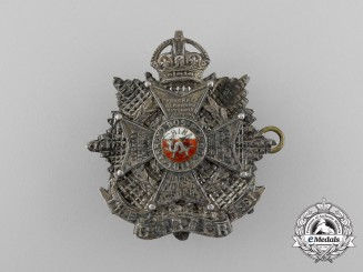 A First War British Border Regiment Officer's Cap Badge in Silver