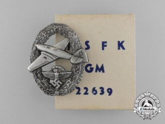 A Scarce NSFK Motor Pilot Badge; II Type in its Original Carton of Issue; Matching Numbers