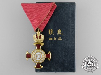 An Outstanding & Mint Austrian Merit Cross; 1st Class Gold Cross with Crown