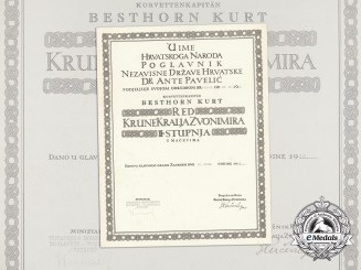 A Formal Croatian Document for the Award of the King Zvonimir Order; KORVETTENKAPITÄN KURT BESTHORN