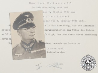 A Superb Knight's Cross & Oakleaves Document Group to the Defender of Tarnopol; Generalmajor Von Neindorff