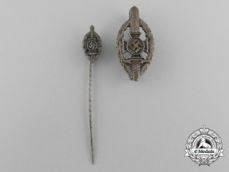 A Matching Pair of NSKOV Membership Badges and Stick Pins by Deschler & Sohn