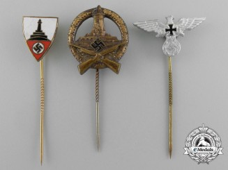 A Grouping of Three Third Reich Period Veteran's Organization Stick Pins