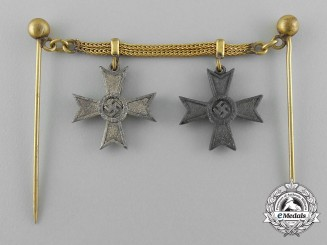 A Second War Miniature War Merit Cross 1st and 2nd Class Medal Chain