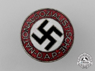 A NSDAP Party Member's Lapel Badge by Rare Maker Apreck & Vrage of Leipzig