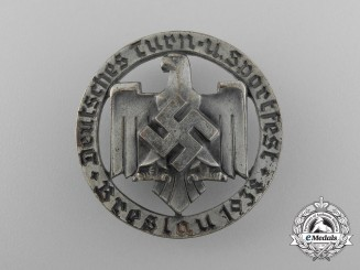 A Fine Quality 1938 Breslau German Gymnastics and Sports Celebration Badge by Robert Neff of Berlin