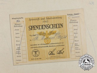 A 1943 German Donation of Cloth and Shoe Certificate