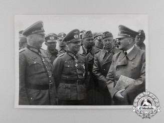 A Period Press Photo of Rommel Meeting with A.H.