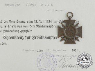 An Award Document & Honour Cross to Joseph Bock