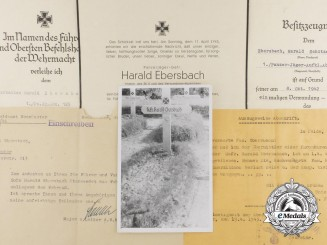 A Fine Group of Award Documents & Obituary of Fallen Panzerjäger Harald Ebersbach