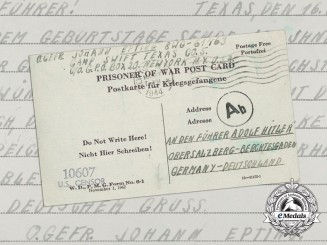 A Birthday Letter Addressed to the Führer from a German Prisoner of War in Texas