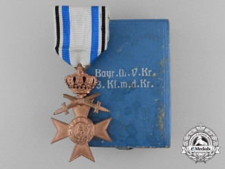 A Bavarian Military Merit Cross; 3rd Class with Crown and Swords & Case