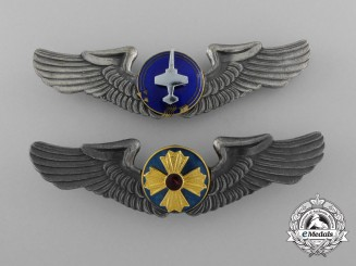 Japan, Constitutional Monarch. Two Air Self-Defense Force Badges