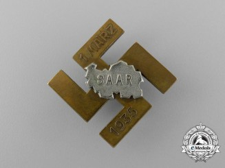 A March 1st 1935 Saar Re-Unification with the Third Reich Badge by Deschler & Sohn