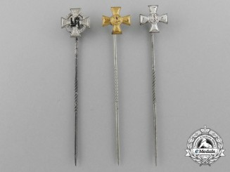A Lot of Three German Long Service Stickpins